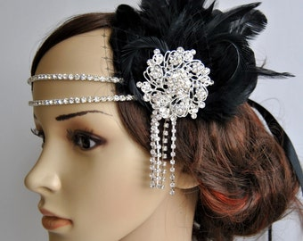 Black Rhinestone Flapper headband,1920's flapper Headpiece, The Great Gatsby, rhinestones headband, vintage rhinestone brooch, silver black