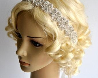 Rhinestone Headband, Wedding Headband, Crystal ribbon tie on Headband, Wedding Headpiece, Halo Bridal Headpiece, 1920s Flapper headband