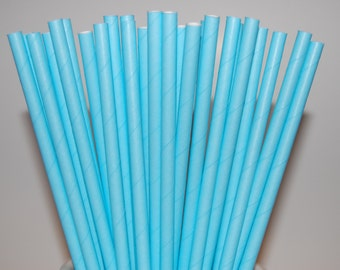 Baby Blue Paper Straws - 25/Pack