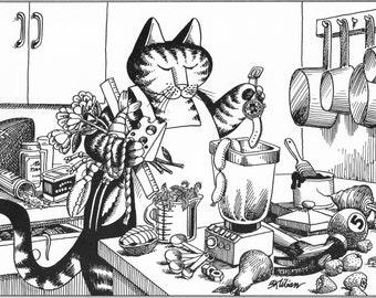 B Kliban Cat Original Vintage Art Print Hey Diddle Diddle Cat