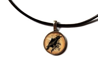 Gothic jewelry Crow pendant Raven necklace NW1