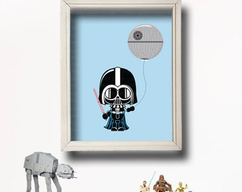 Star Wars Kids Art- Darth Vader - Star Wars Nursery- Baby Shower Gift - Digital-Star Wars Baby-Death Star Wall Art-Jedi Baby Room-BR060