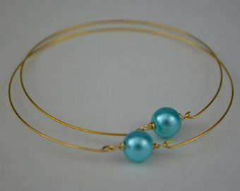 Turquoise Glass Pearls on Gold Bangle - Set of 2
