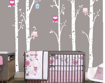 Birch Decal with Owls, set of 5 birch trees, Owl Decal, Birch with Owls, Nursery Birch Tree, woodland