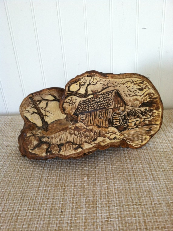 ANTIQUE FOLK ART Mushroom Art Country Scene Woodlands Handcarved Rustic Organic Natural Folk Art New England Rare Unusual Adirondack  Lodge