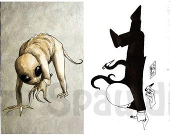 Amigurumi Slender Man : Creepy Pasta Postcard Set of 4