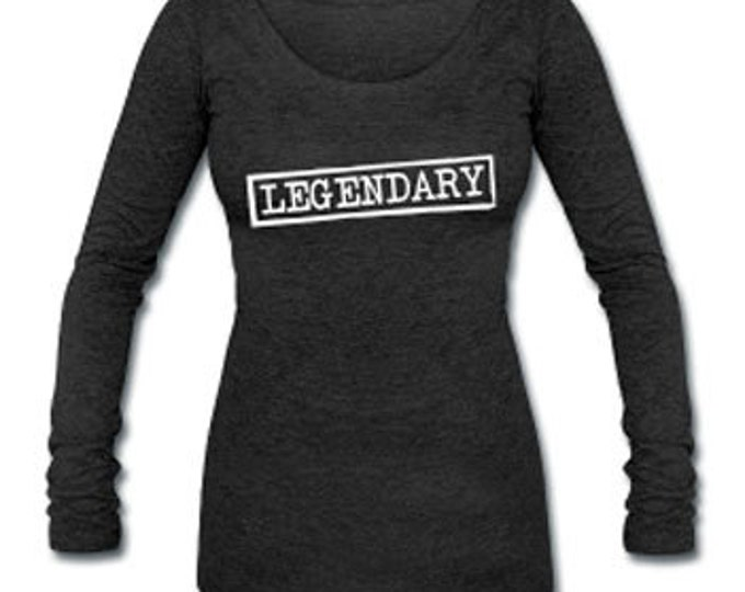 Legendary Long Sleeve Tri-blend Women's Wide Neck Black T-shirt