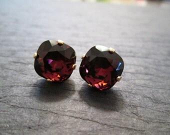 Burgundy Swarovski Crystal Earrings/Wine Bridesmaid Jewelry/Swarovski Earrings/ Swarovski Crystal Studs/Burgundy 12mm Square Crystal Studs