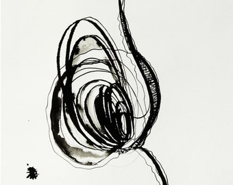 Original Abstract Ink Drawing about 9 x 13 inch (24 x 32 cm )  on paper Sumi200