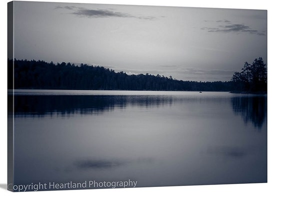 Large BWCA Canvas, Black and White, Little Loon Lake, Water Landscape, Canvas Wrap, Lake Photography, Nature Photography, Boundary Waters