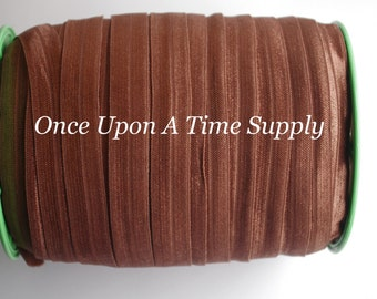 Brown Fold Over Elastic for Baby Headbands - 5 Yards of 5/8 inch FOE - Craft Embellishement - Elastic By The Yard