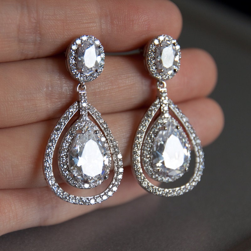 Bridal earrings double teardrop bridal earrings chandelier