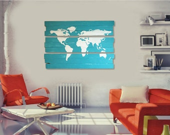 Extra Large World Map Paint Splatter Wall Art On Stained - Large world map painting
