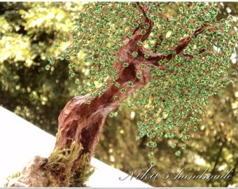 Artificial Beaded tree sculpture Spring girl-willow, handmade tree of life, wire bonsai tree