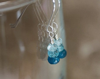 Light Blue Aquamarine Blue Green Apatite Bright Blue Apatite Gemstone Dangle Earrings; Wire Wrapped; Dangles; Blue Earrings; Blue Gemstones