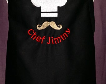 Mens Apron with Chef Hat, Moustache and Name