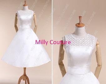 vintage short wedding dress, 1950's wedding dresses,simple tea length wedding dress, retro style wedding dresses  Kate