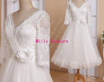 Stunning lace tea length wedding dress with long sleeves, 1950s tulle wedding dress,1950s short wedding dress, retro vintage wedding dress