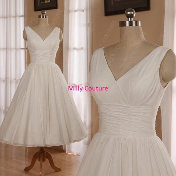 Romantic Chiffon 1950s Tea Length Wedding Dress Beach Wedding