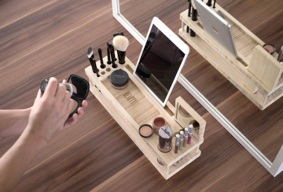 The Original Beauty Station (SALE - originally 109.99) Makeup Organizer and Display Case with Docking Station for Phones and Tablet.