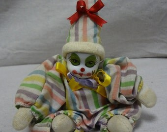 Porcelain Face Pastel Stripe Clown - E0032