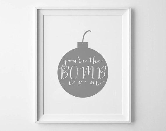 BOMB.COM - Instant Download - 8x10 - 11x14 - Printable art - Gray -  Bomb - Love Art  - Home Decor