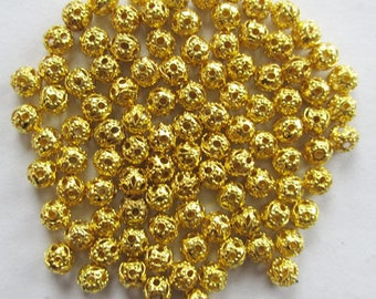 4 mm gold plated filligree bead spacer