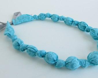 Aqua Blue Beaded Nursing Necklace, Fabric Necklace, Statement Necklace, Teething Necklace