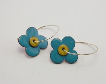 Reversible enamel flower earrings