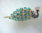 Vintage Rhinestone Peacock Wedding Something Blue Hair Clip