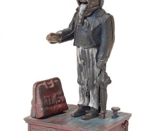 Vintage Uncle Sam Cast iron Mechanical Piggy Bank Coin Collector Americana Memorabilia