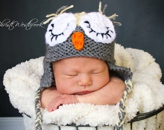 Knit Owl Hat, Crochet Sleeping Owl, Sleepy Owl Hat, Yellow Gray, Newborn Photo Prop, Baby Shower Gift, Baby Owl Hat, Owl Baby Shower Gift