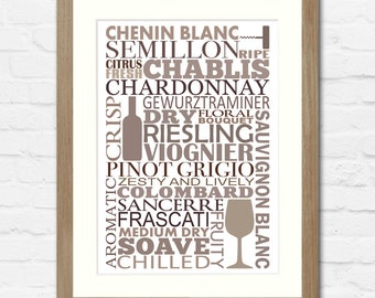 Wine Lover Typographic Print | Available Framed or Unframed | Red or White Wine Version