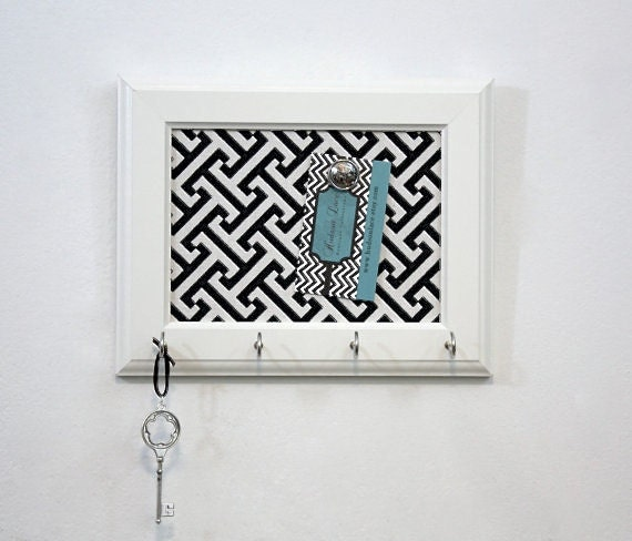 Items similar to key holder key hook black and white for Cork board with hooks