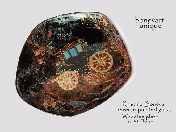 Wedding Gift Glass Painting : Wedding plate - Wedding gift - Reverse glass painting - Just married