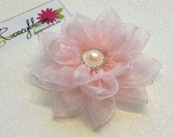 Bridal Hair Piece-Bride Hair Clip-Bride Head Piece-Flower Hair Clip-Bridesmaid Hair Clip-Pink Hair Clip-Pale Pink Flower Bridal Hair Clip