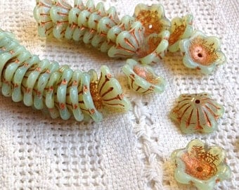 Czech Glass 12 or 14 mm Wide Bell Flower Cup Beads - Pale Green Opal with Copper Accents  - 15