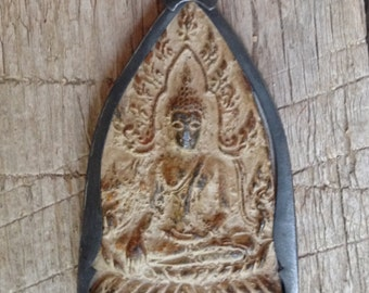 Brass or Bronze Sitting Buddha Pendant from Thailand