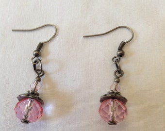 Pink Faceted Glass Beaded Earrings