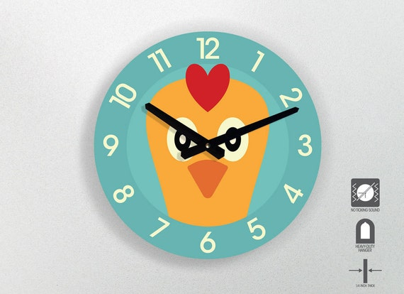 Chicken wall clock for kids room animal design 11 by for Kids room clock
