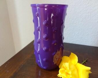 Rare Vintage Hobnail Purple Milk Glass Flower Vase Hoosier Glass Purple Glass G386c