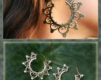 Brass Hoop Star, Tribal Earrings Size L