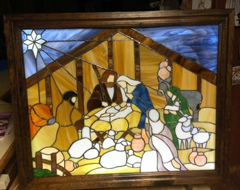 Stained Glass Nativity Panel in a Light Box Frame & Stand