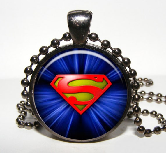 superman pendant for boy superman necklace by