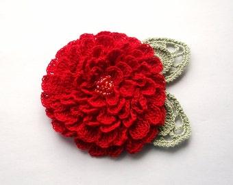 Red crochet flower brooch, red crochet brooch, flower brooch, handmade, crochet, pin accessory, corsage, wedding, mother of the bride