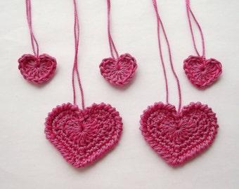 Hearts, crochet hearts, pink hearts, pink crochet hearts,