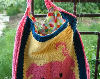 Pig Purse, Pig Diaper Bag, Large Pig Purse, Flower Purse, Flower Diaper Bag, Crocheted Large Purse