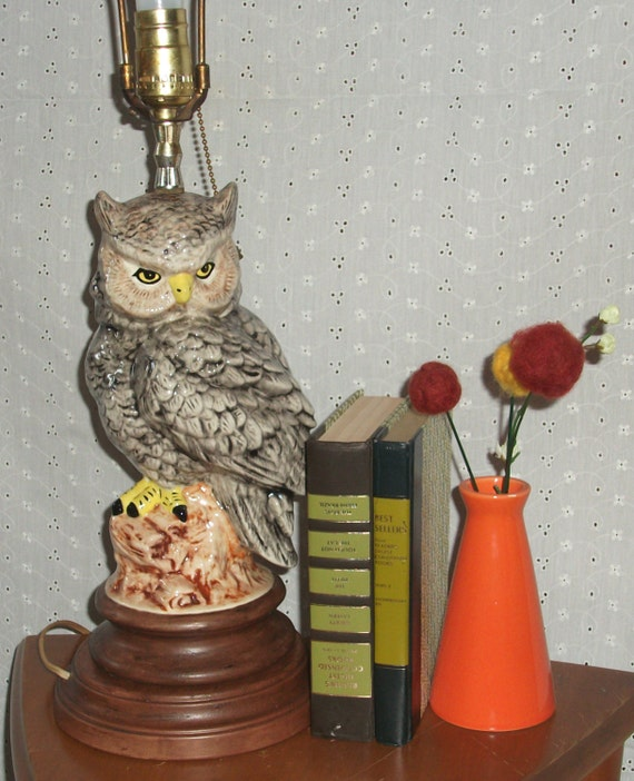 Vintage 70s Owl Lamp Large Ceramic Table Lamp With Shade