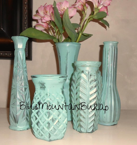 Distressed Painted Glass Vases Set of 5 by BlueMountainBurlap