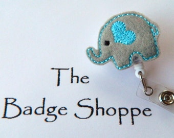 Gray Elephant with Baby Blue Heart on a Retractable ID Badge Holder (Option in gray and pink too)